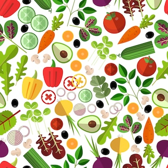 Salad ingredients seamless pattern. vegetable mushrooms and avocado, onion and carrot, cucumber and pepper,