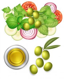 Salad and olive oil dressing