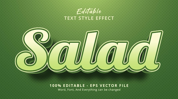 Salad text on nature color food event style, editable text effect