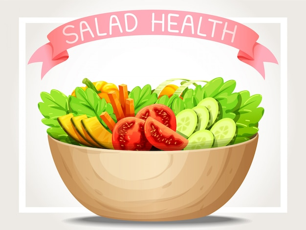 Salad vegetable health and pink ribbon on top