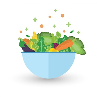 Salad with bowl. green vegetables healthy food.