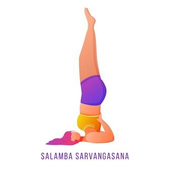 Salamba savargasana flat illustration. supported shoulderstand. caucausian woman doing yoga in orange and purple sportswear. workout, fitness. isolated cartoon character on white background