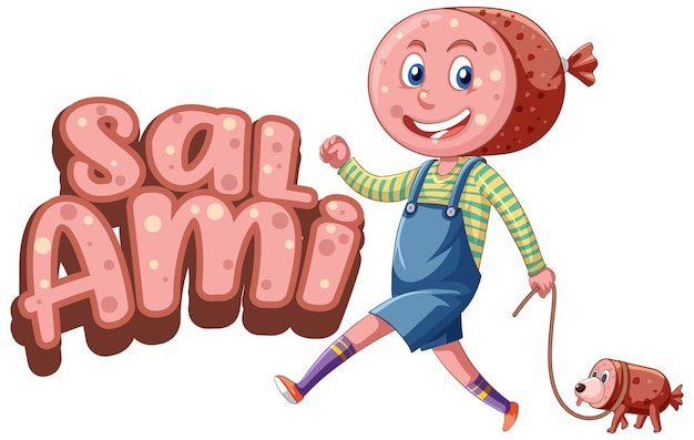 Salami logo text design with salami character