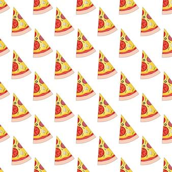 살라미 소시지 피자 조각 완벽 한 패턴입니다. 흰색 배경에 벡터 일러스트 레이 션. 재미있는 만화 피자 조각. 섬유 또는 종이에 대한 피자 패션 패턴 인쇄