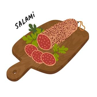 木製のまな板にサラミソーセージ肉のデリカテッセン