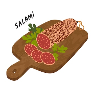 Salami sausage meat delicatessen on a wooden cutting board