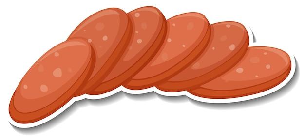 Salami sausage sticker on white
