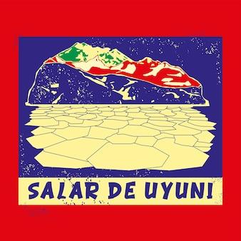 Salar de uyuni stamp badge illustration with classic vintage design