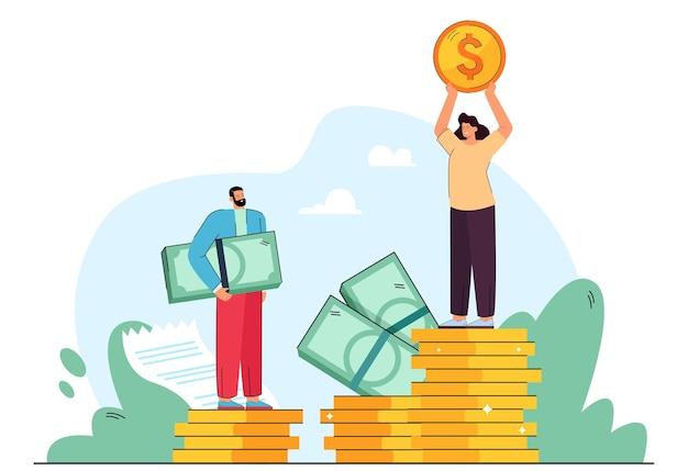 男性と女性のビジネスキャラクター間の給与格差