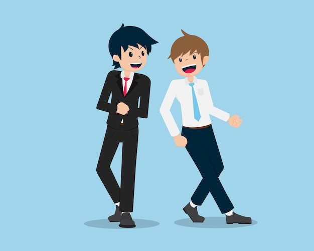 Salary man are wearing suits and colleagues are excited and happy about the work