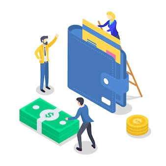 Salary payment isometric color  illustration. accounting and audit. saving money. revenue increase. banking. annual bonus. payout, payday. people receiving wage. 3d concept isolated on white