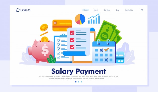 Salary payment landing page illustration vector template