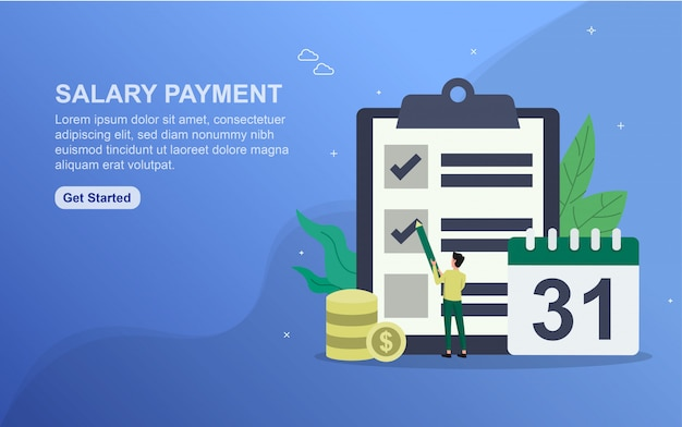 Salary payment landing page template. flat design concept of web page design for website.