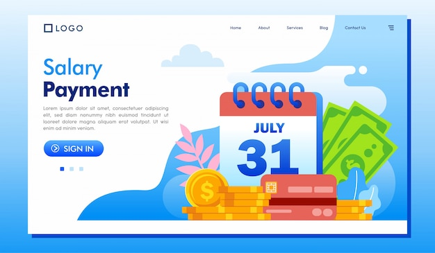 Salary payment landing page website illustration vector