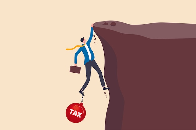 Salaryman income tax payment, government tax, debt, fee obligation to pay concept, tried depressed businessman holding briefcase holding and about to fall from cliff tied with heavy ball with text tax