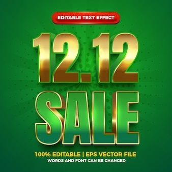 Sale 12 12 green gold bold 3d editable text effect