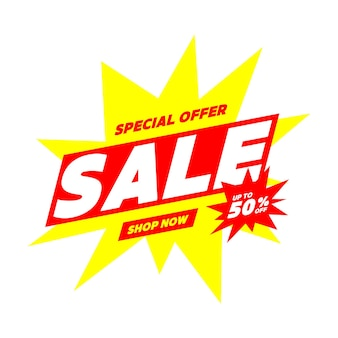Sale 50% off banner. special offer price sign. advertising discounts symbol.