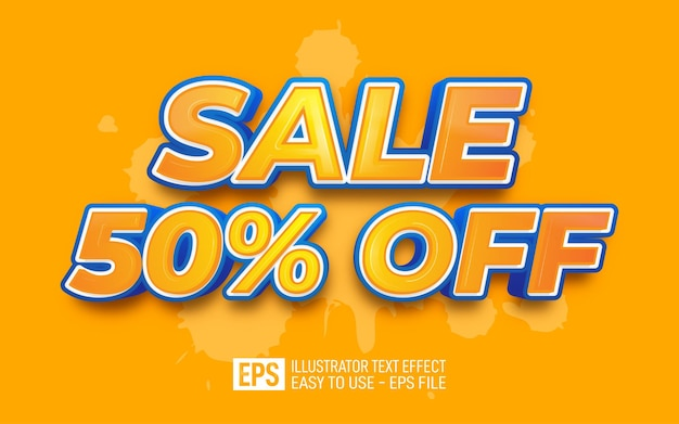 Sale 50 percent off 3d text editable style effect template