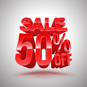 Sale 50 percent off red 3d style