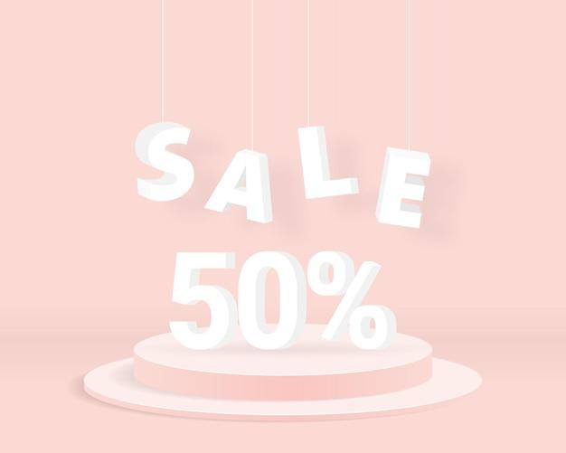 Распродажа 50% текст с цилиндрическим подиумом