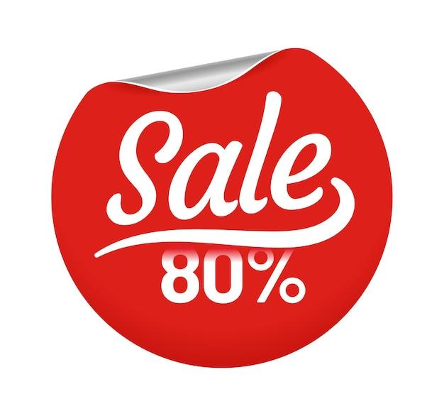 Продажа 80 процентов для значка круга клиентов. розничная красная круглая наклейка с угловым завитком для покупок в магазине. лучшие цены для торговли, специальное предложение для потребительских векторных иллюстраций