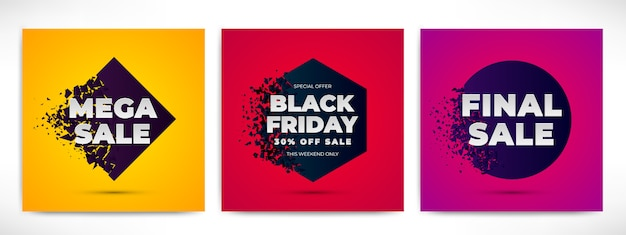 Sale abstract banners set with explosion effect. shapes with fuzz splinter and text on gradient background.
