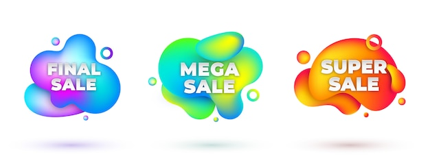 Sale abstract banners set with fluid shapes effect. modern gradient neon liquid elements isolated on white background. dynamic holographic chameleon banners design collection.  illustration