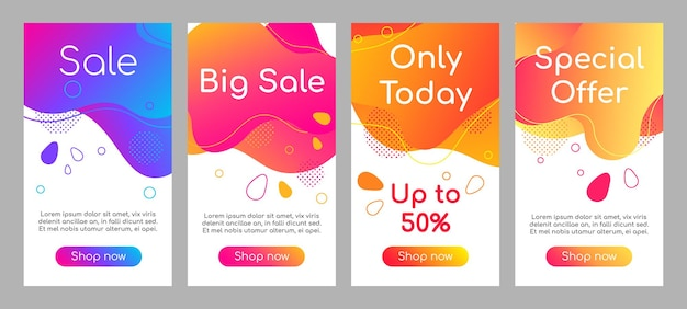 Sale abstract fluid mobile app screen mockup set. discount, special offers bubble web banner, social media stories, website colorful design. online store webpages template with liquid gradient shapes