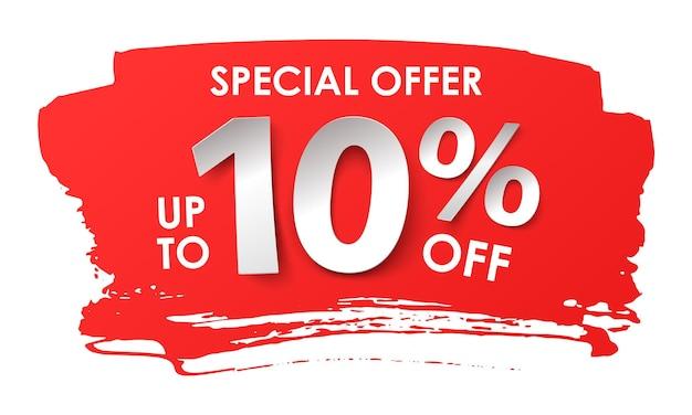 Продажа рекламы. скидка 10 процентов в бумажном стиле. векторная иллюстрация с реалистичной тенью
