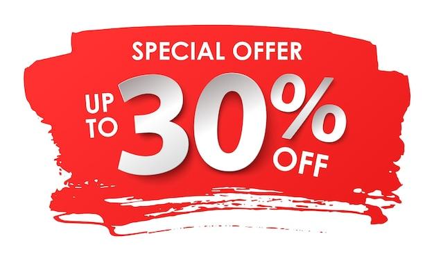 Продажа рекламы. скидка 30 процентов в бумажном стиле. векторная иллюстрация с реалистичной тенью
