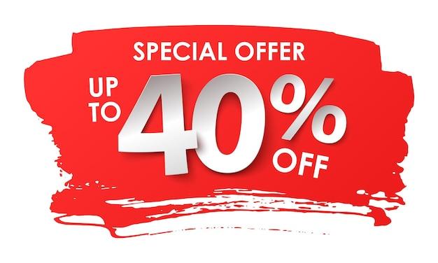 Продажа рекламы. скидка 40 процентов в бумажном стиле. векторная иллюстрация с реалистичной тенью