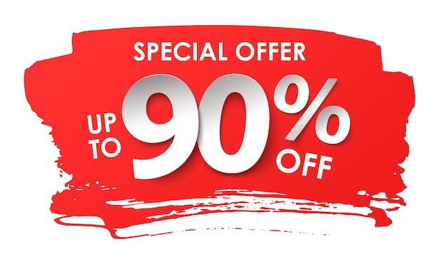 Продажа рекламы. скидка 90 процентов в бумажном стиле. векторная иллюстрация с реалистичной тенью