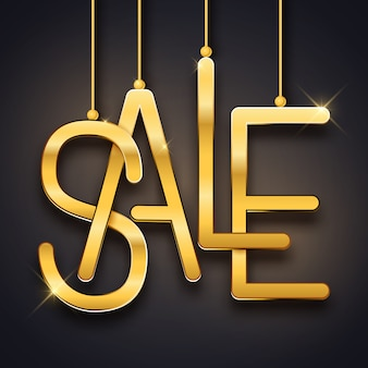 Sale advertisement, realistic gold text, vector illustration