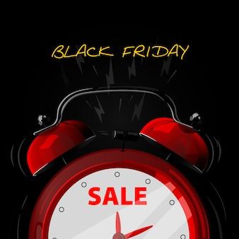 알람 시계 판매. 검은 금요일 배경