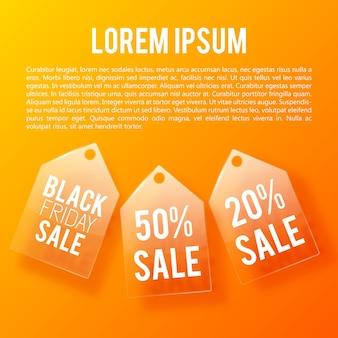 ガラスの値札が付いている販売および割引の設計概念。