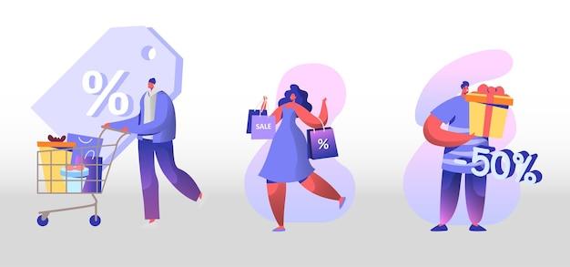 판매 및 할인 세트. 행복한 사람들 쇼핑 레크리에이션. 만화 평면 그림
