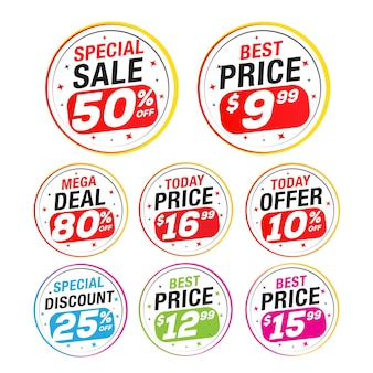 セールと特別オファータグの値札販売ラベルバナーベクトルイラスト
