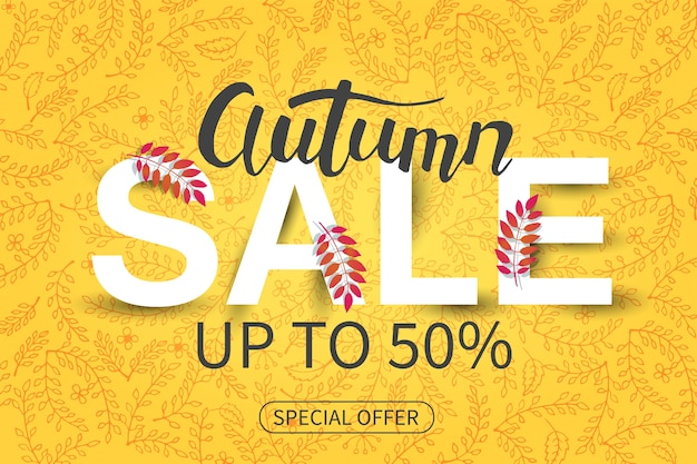 Sale autumn banner. special offer.