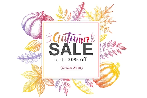 Sale autumn banner with hand drawn hand drawn doodle multicolor leaves. special offer.