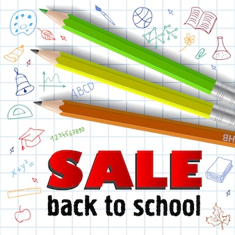 Sale, back to school lettering and colored pencils