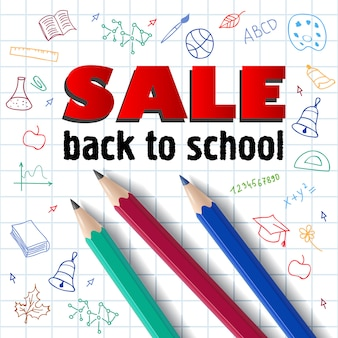 Sale, back to school lettering, pencils and hand drawings