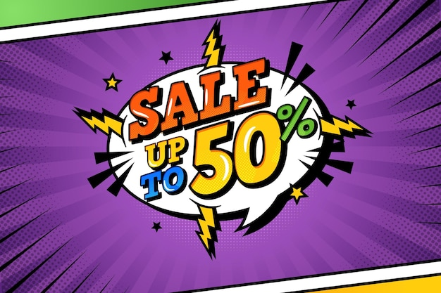 Sale background in comic paper style