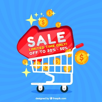 Sale background design with cart