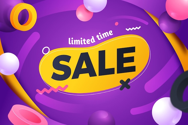 Sale background with abstract shapes