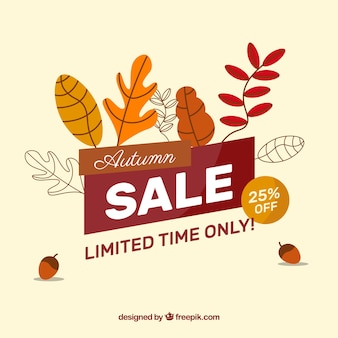 Sale background with autumn leaves