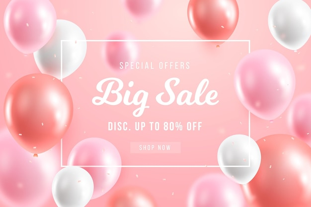 Sale background with balloons design