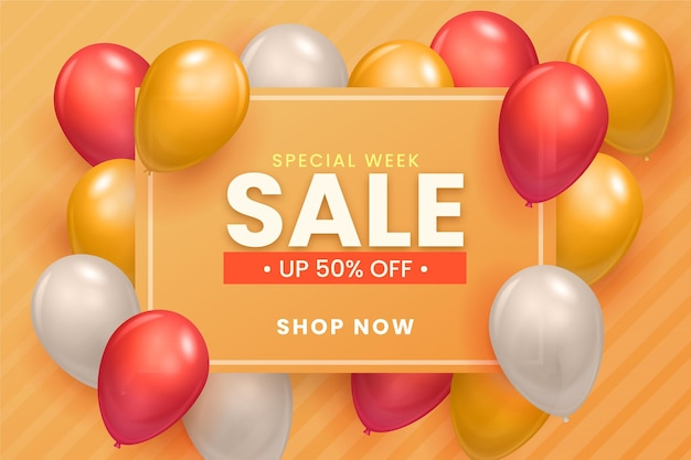 Sale background with balloons theme