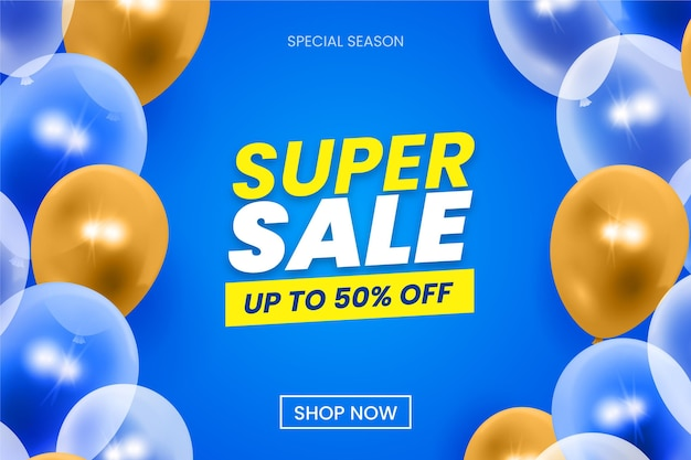 Sale background with balloons