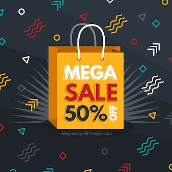 Sale background with colorful shapes