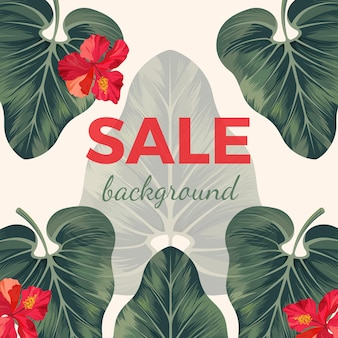 Продажа фон с экзотическими тропическими листьями и красными цветами